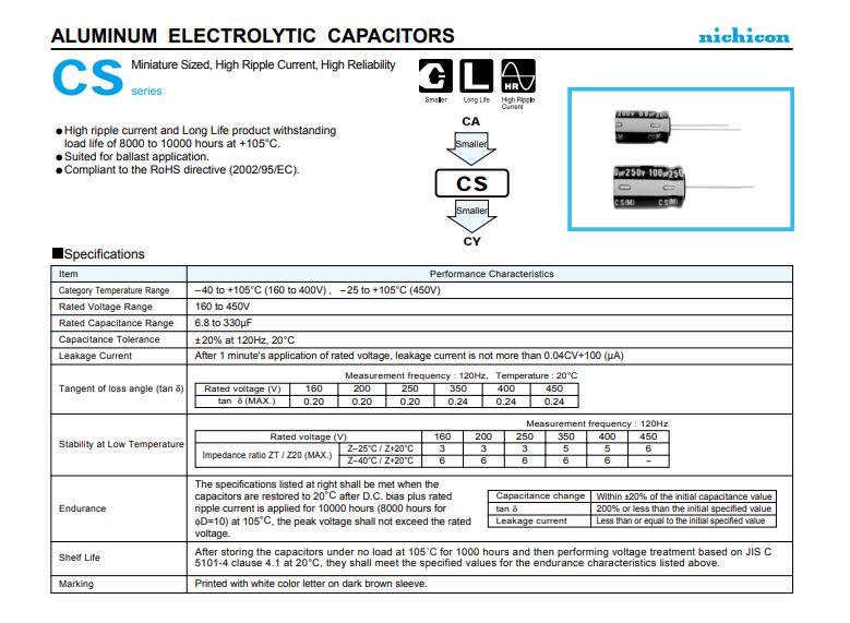 Nichicon  CS系列铝电解电容器