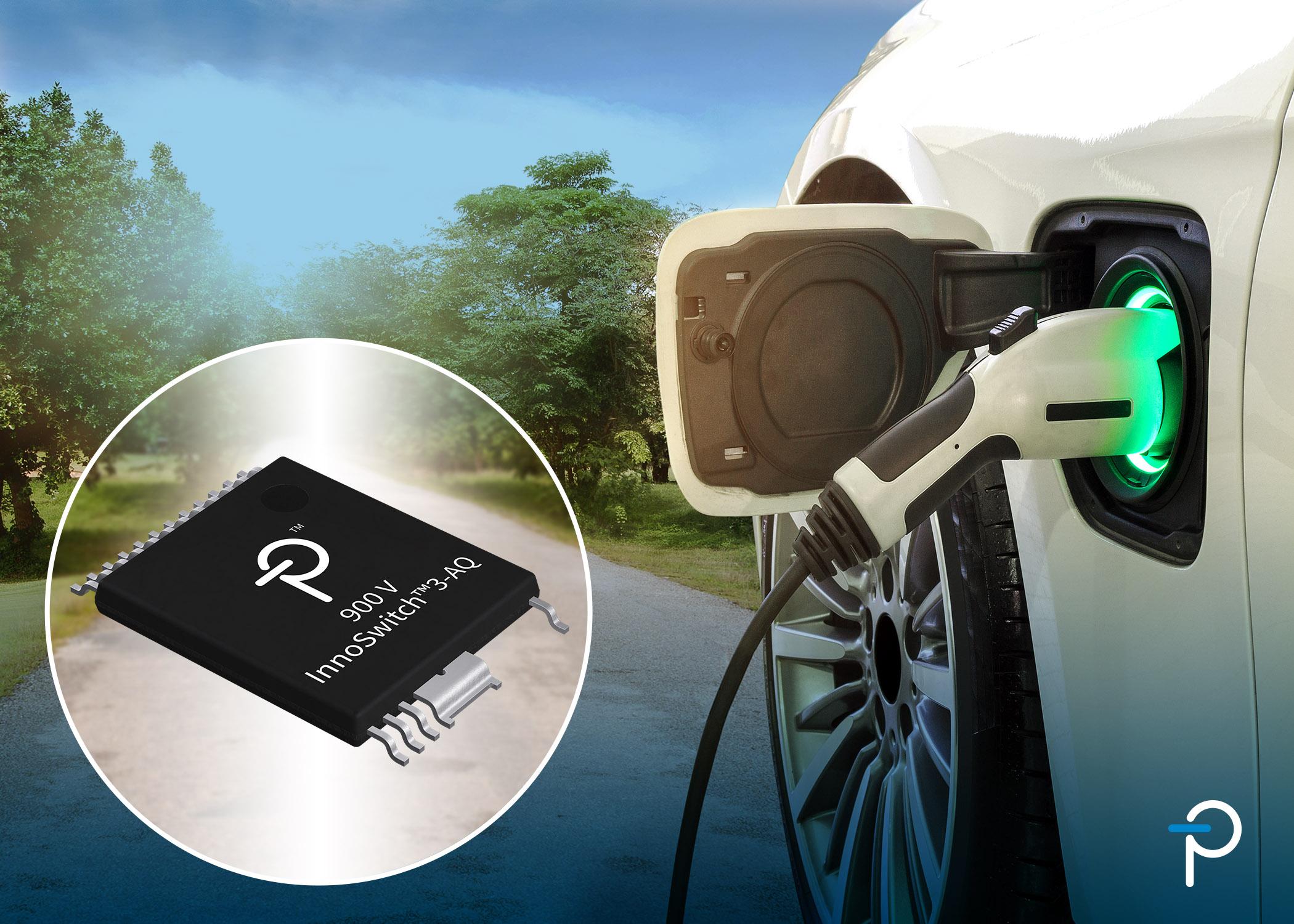 Power Integrations推出新款AEC-Q100级900V InnoSwitch3-AQ反激式开关IC,为电动汽车设计提供支持