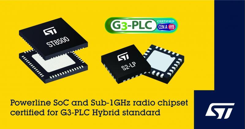 意法半导体率先发布G3-PLC Hybrid电力线和无线融合通信认证芯片组
