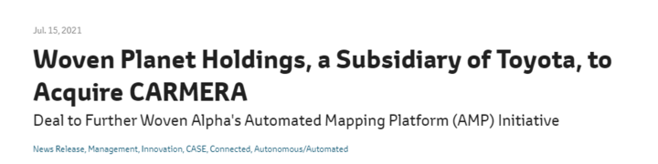 为增强自动驾驶技术 丰田收购美国地图绘制公司Carmera