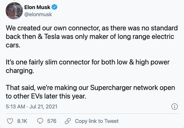马斯克证实将于今年晚些时候向其他车企开放超级充电站