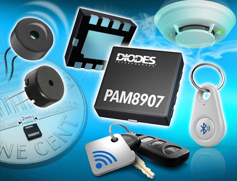 Diodes 公司推出 22V/31V 峰值的可选择输出压电式发声器驱动器,能驱动更高声压级并运作更