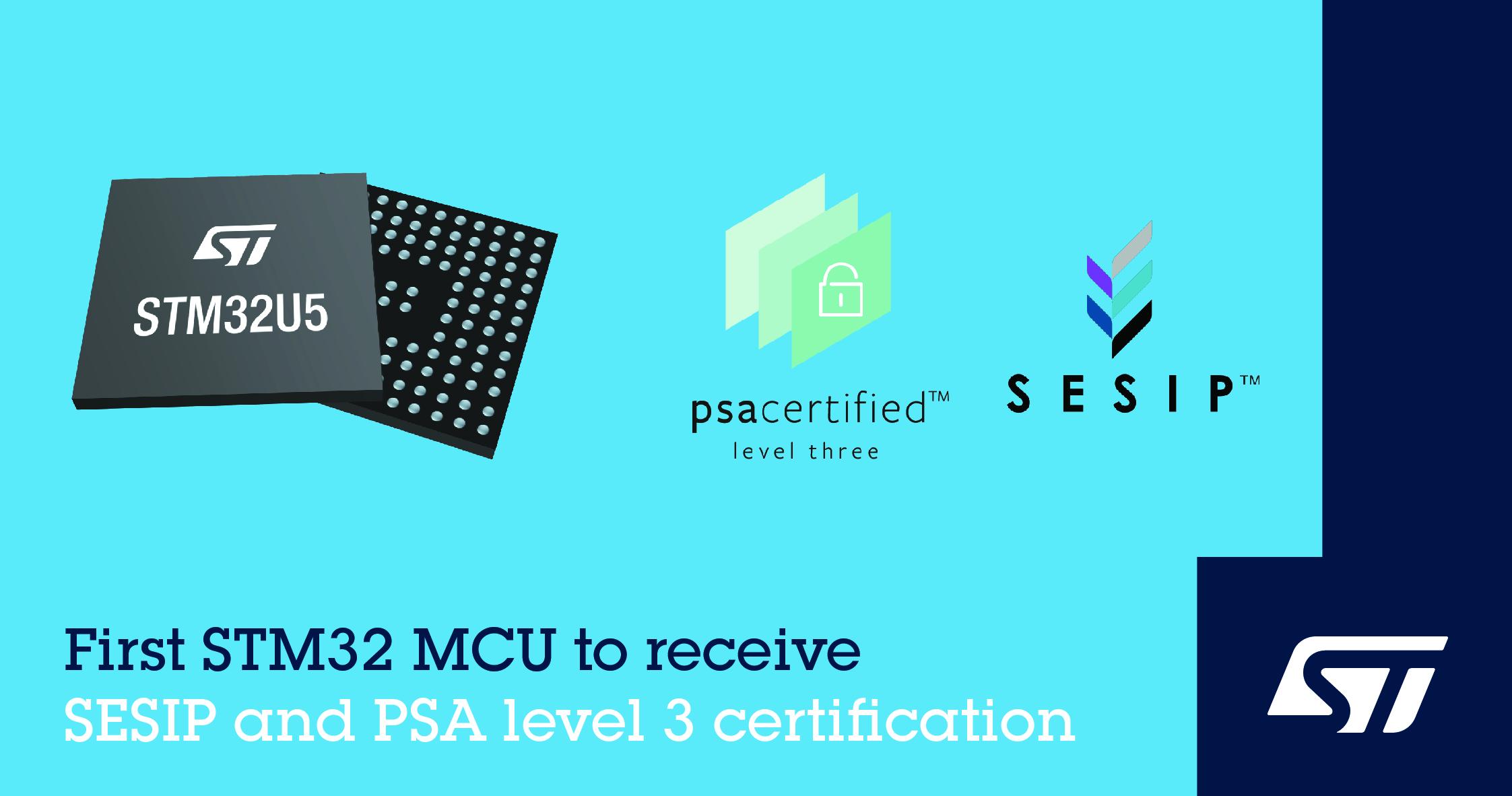 意法半导体的STM32U5通用MCU取得PSA 3级和SESIP3安全认证